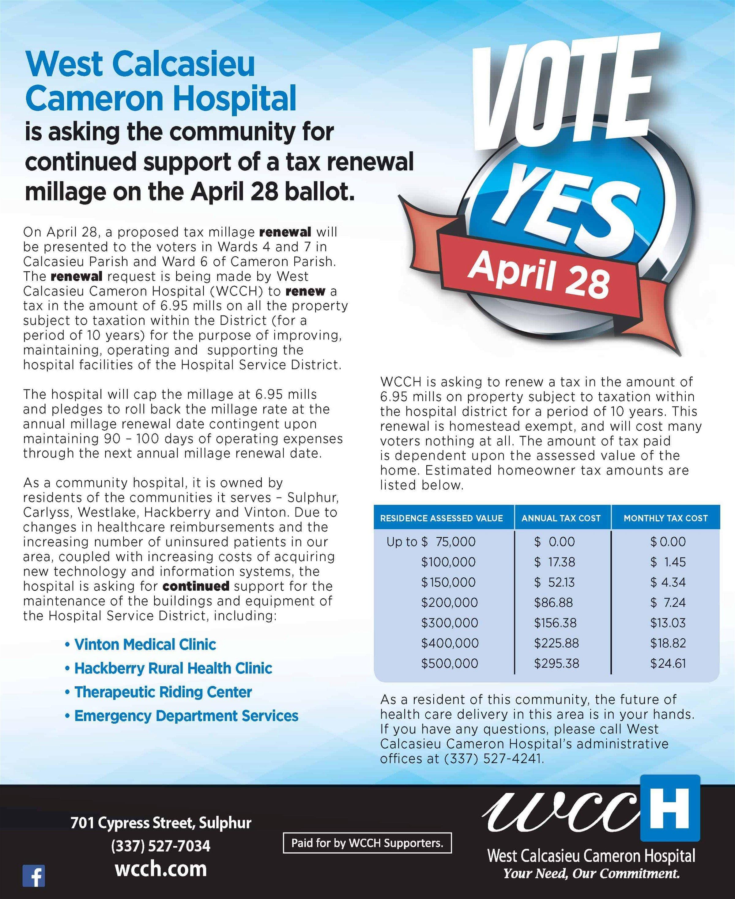 WCCH Tax Millage Renewal Flyer