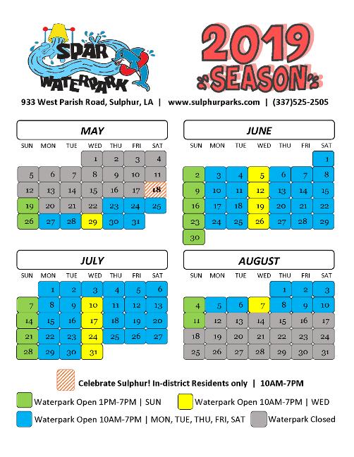 Sulphur SPAR Water Park 2019 Calendar