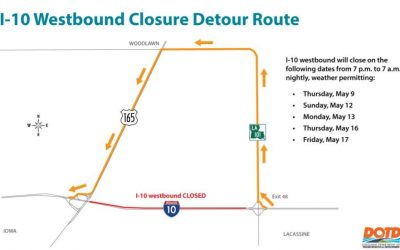 I-10 Westbound Closure from Lacassine to US 165 Overpass Near Iowa Beginning May 9, 2019