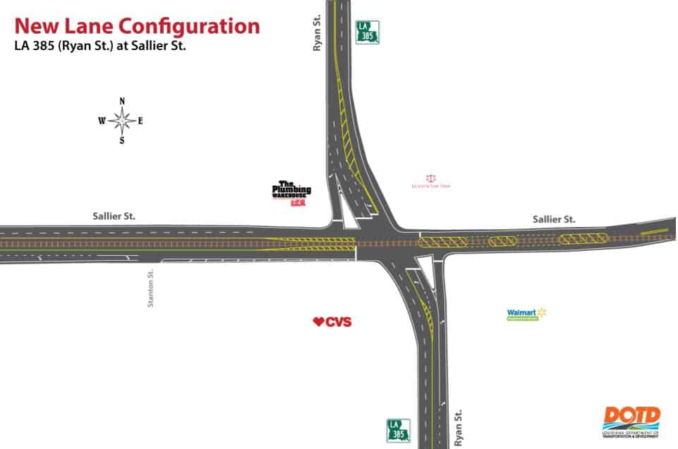 Intermittent Lane Closures at the Intersection of Ryan Street and Sallier Street in Lake Charles for New Lane Configurations
