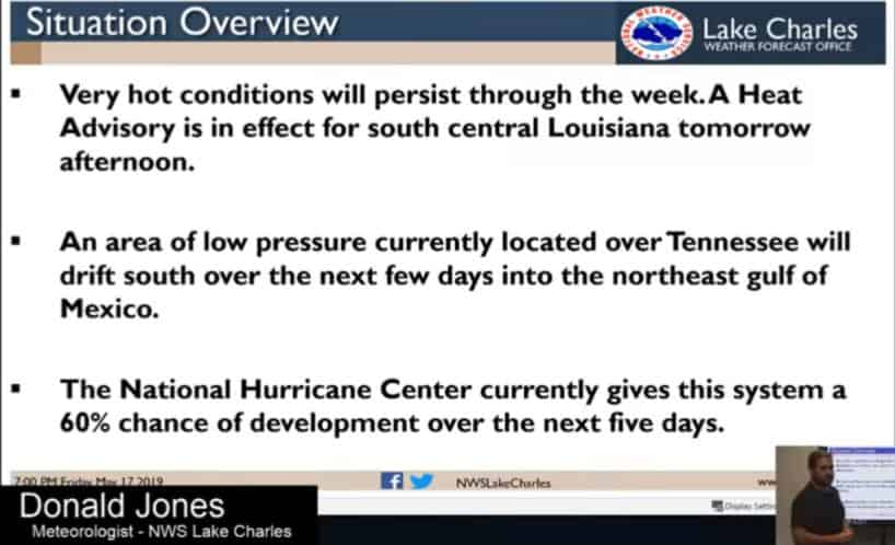 Warm Temperatures and a Potential Tropical Disturbance Update from The National Weather Service in Lake Charles