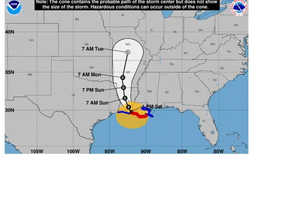 Barry Makes Landfall Near Intracoastal City and Weakens to a Tropical Storm